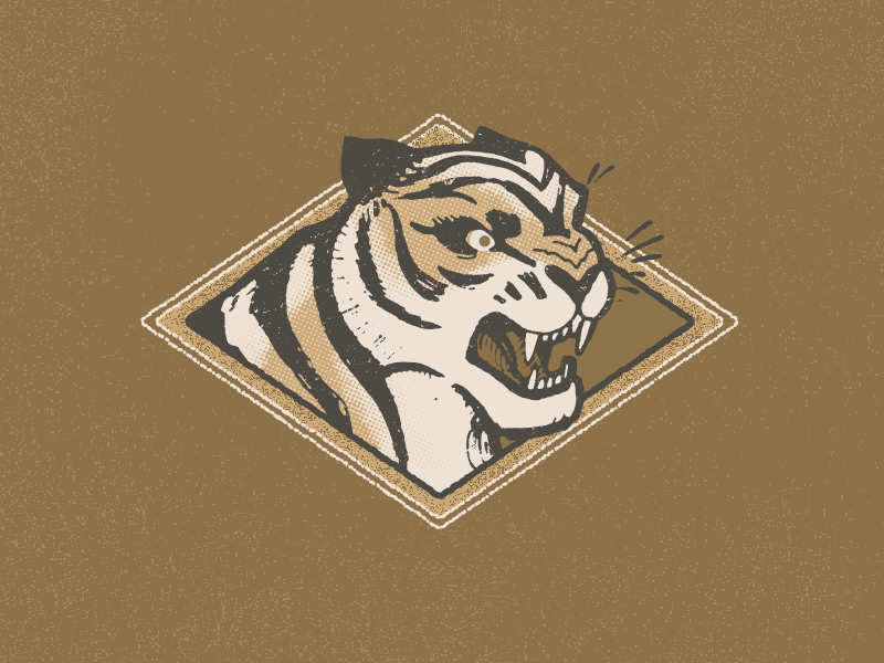 Wonky Tiger print team logo sports retro roar cat illustration art golden gold gift card design vintage graphic matchbook emblem illustration tiger