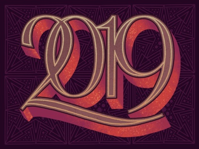 ✨ 2 0 1 9 ✨ procreate post card new year numerals typogaphy design illistration lettering sign painting dropshadow
