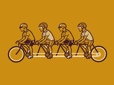 Quad Bike Punks matchbook repeat pattern repeat tandem punks dudes rad bicycle procreate illustration graphic