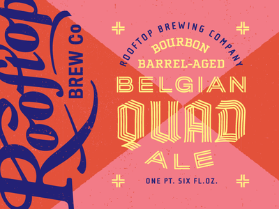 Rooftop's Belgian Quad II branding logo print bottle seattle packaging lettering blackletter badge typography type design label beer brewery