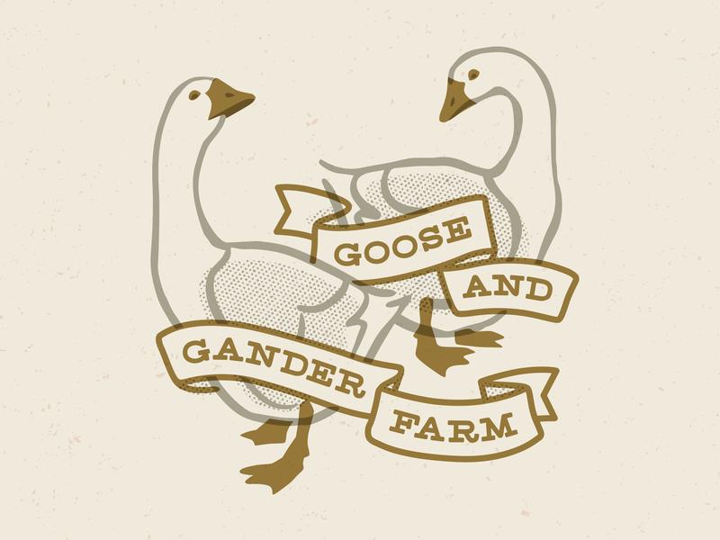 Goose and Gander T-shirt farm earthy art logo branding graphic design t-shirt vector illustration
