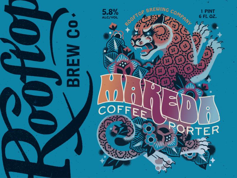 Makeda Coffee Porter label for Rooftop packaging label beer gradiant tattoo cat leopard branding logo lettering art typogaphy design illustration