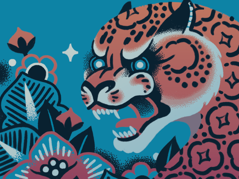 Makeda Leopard Close-up screenprint graphic product design packaging artwork coffee beer label dark warm tattoo roar leopard cat tiger design illustration