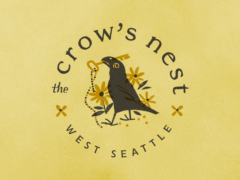 The Crow's Nest logo graphic design seattle hotel bird crow mark seal branding logo airbnb