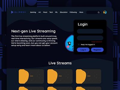 Glimesh Homepage Design Concept ux ui design homepage glimesh
