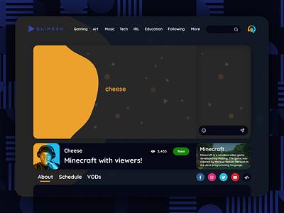 Glimesh Stream Page Design Concept ux ui page design page stream glimesh