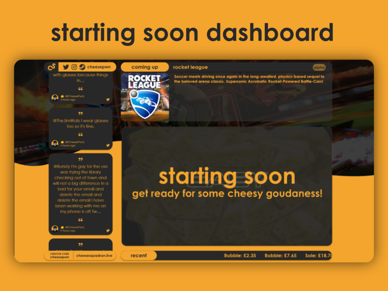 Starting Soon Dashboard