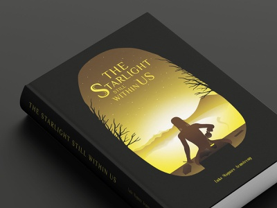 BOOK COVER : THE STARLIGHT STILL WITHIN US illustration graphic design yellow light shinning lake star book