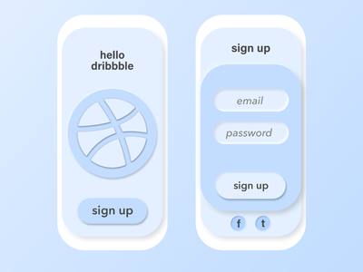 Daily UI #001 - Sign Up user inteface challenge hello dribble daily 100 challenge firstshot app ux daily ui sign up 001 dailyui001 dailyui neumorphism ui