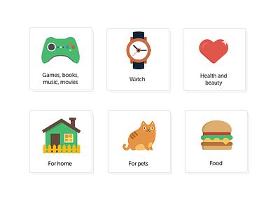 Flat icon set icons sberkod website
