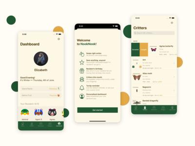NookNook: Companion for ACNH ui  ux referenceapp companion app mobile app design mobile ui app game acnh ios app ios app design animalcrossing iphone uidesign uiux ios