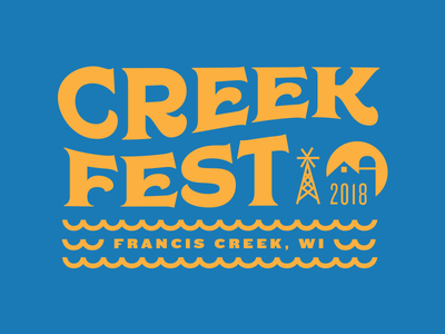 Creek Fest typography lettering small town wisconsin francis creek fest tshirt branding design festival