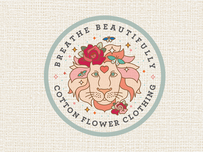 Cotton Flower Clothing Lion sticker clothing label clothing company magic sparkle butterfly rose flower flowers illustration logo design logobadge badge logo lion branding