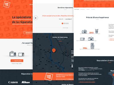EcranCasse.com flat website web design colorful color orange clean layout vector illustration