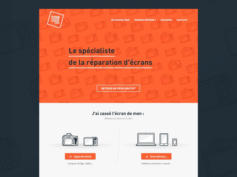 www.ecrancasse.com simple webdesign website web flat clean minimal type vector illustration ui