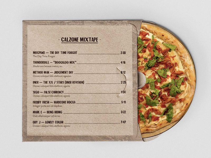 calzone Mixtape pizza cover mixtape branding cd
