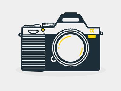 Sony alpha 7 flat minimal illustration line icon camera sony alpha
