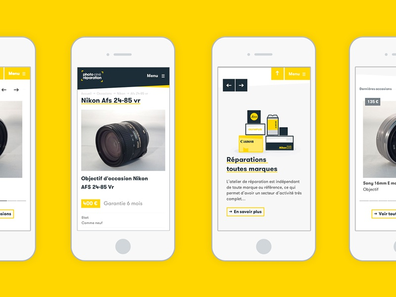photociné / mobile views fresh clean web mobile flat responsive