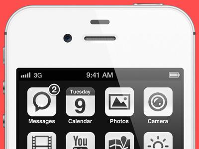 iOS minimal edition clean interface icon minimal subtle black white ios6 ios iphone ui retina