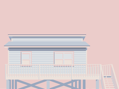Cotton Candy Cottage digitalart digital illustration adobe illustrator aesthetic aesthetic house small house small cottage small beach house alabama gulf shores alabama gulf shores blue and pink colour scheme colour palette cotton candy colours cotton candy architecture illustration house exterior design exterior design house illustration