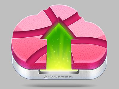 Uploaddder Icon v1 cloud app uploader dribbbler image shot icon pink luv sparkle mac
