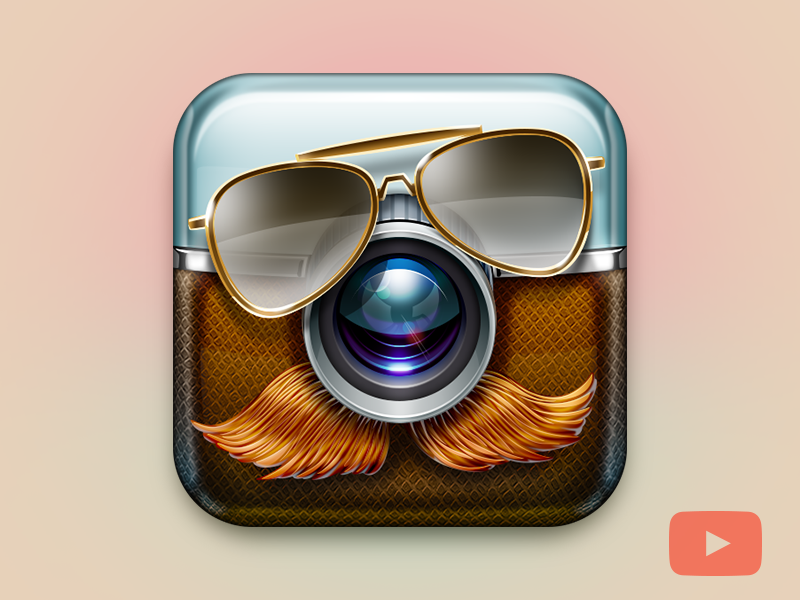 Sweet Mustache App Icon oldfart skeu ios icon apple mustache camera