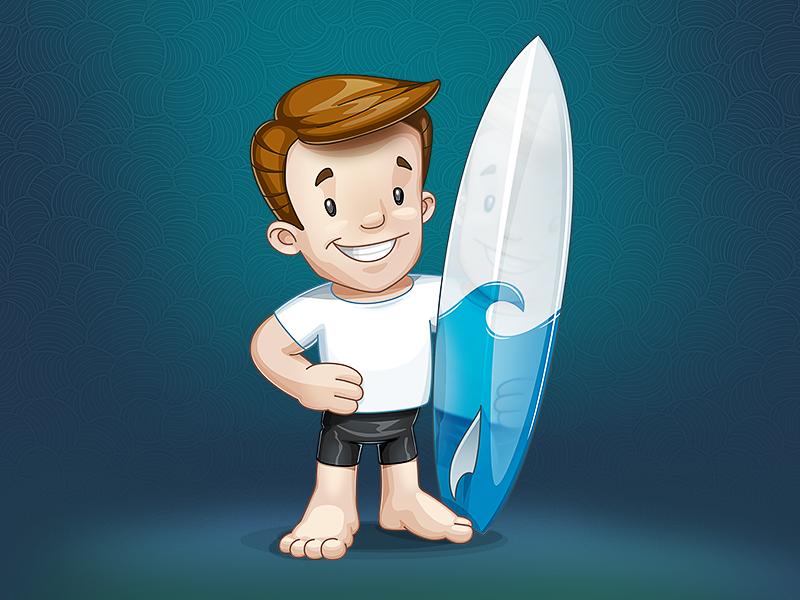 Mascot for Surfaccounts mascot character surf surfaccounts board