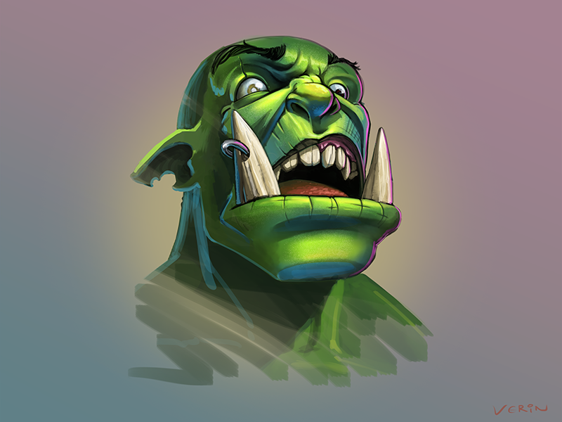 Orc Face Sketch huh ogar loktar face warcraft orc sketch
