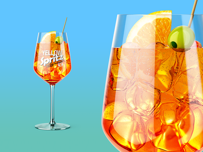 Spritz Cocktail Glass Mockup cocktail spritz