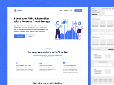 Cloudike - Personal Cloud Storage for B2B churn arpu desktop files customers solution software carier mobile cloud personal white-label landingdesign design minimalistic saas b2b page landing wireframe