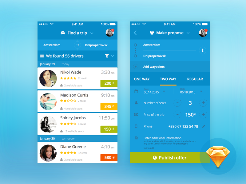 Blablacar and other ride sharing services redesign freebies free sketchapp iphone carpooling blablacar mobile app concept redesign ux ui