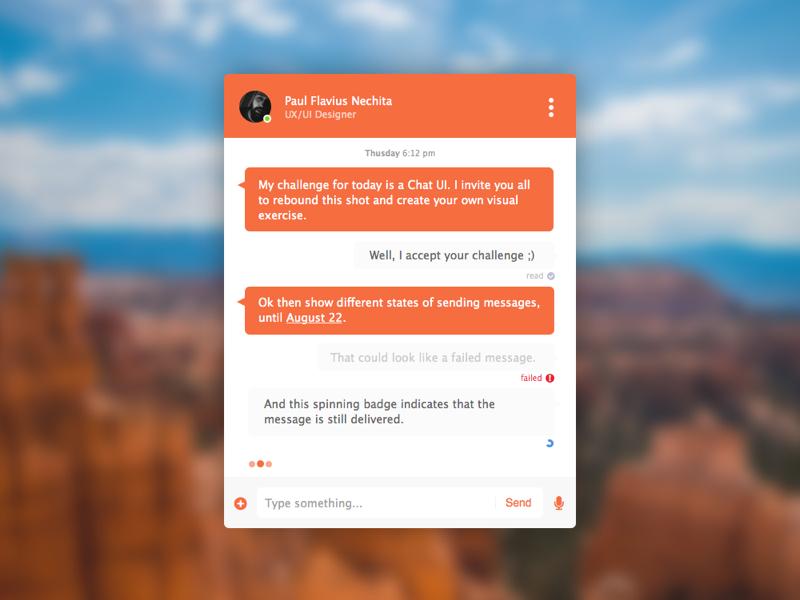 Chat UI - rebound sketchapp messenger chat rebound app design ux ui