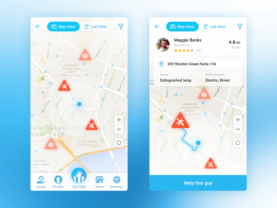 Roadside assistance - concept app