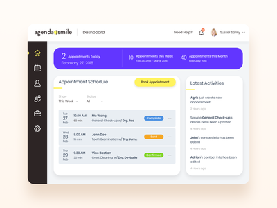 Web Dashboard Design for Clinic dashboard ui appointment