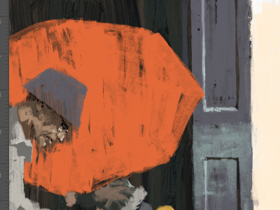 Engrossed colour illustration wip marc aspinall