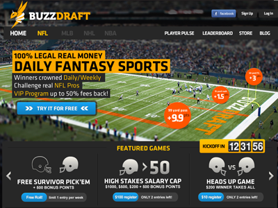 NFL Homepage sports ui