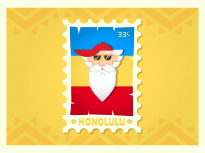 To Honolulu with Merlin typography illustrator logo honolulu stamp merlin design flat icon vector illustration hawaii