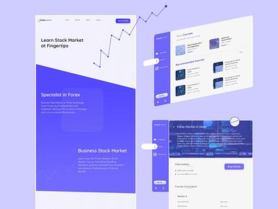 Stock Market learning courses Platform design app ui web stock market