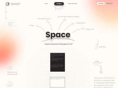 Space - Simple Productivity & Management Tool page landing app clean ux ui minimal web