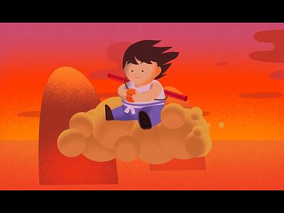 Flying Son Goku Loop illustrator after effects kid goku animated illustration landscape illustration landscape loop mountains flying nimbus akira gohan vegeta kinto dragon ball z anime dragon ball goku son