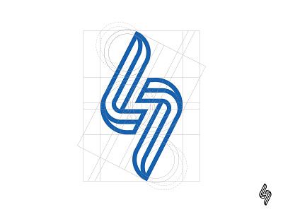 "Lightning / Georgian ""Nuskhur"" letter K / 2 construction grid branding identity mark logotype logo symbol lightning bolt"