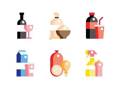 Icons illustrator flat market meat milk wine drinks food icons food vector branding icon design illustration