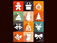 Free Long Shadow Christmas Icons