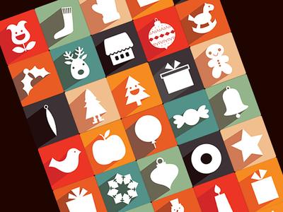 35 New Free Long Shadow Christmas Icons