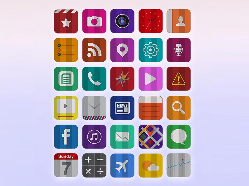 30 Free Folded Flat iOS 7 Icons free freebies icons flat ios7 ai pngs