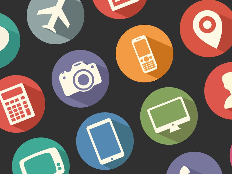 20 Free Flat Long Shadow Media Icons