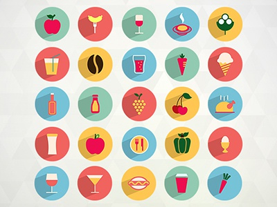50 Free Flat Food and Drink Icons free freebies food drinks icons long shadow flat png