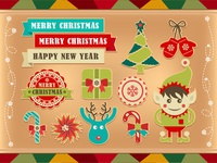 Christmas retro icons  elements and illustrations 02