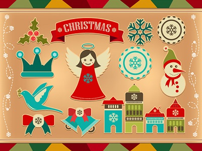 Christmas Retro Icons and Elements - FREE! christmas free freebie labels emblems decorative