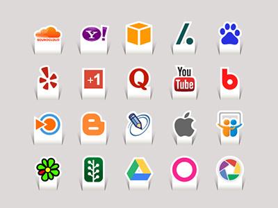 80 Paper Cut Social Media Icons social media papercut icons vector flat long shadow